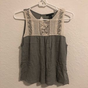 Olive Green Lace Embroidered Tank